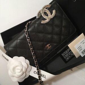 Chanel Classic Black Caviar Wallet on Chain (WOC)